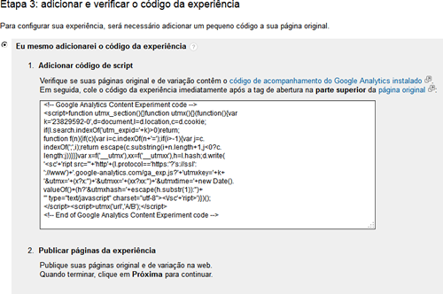Configuração do Google Analytics Content Experiment